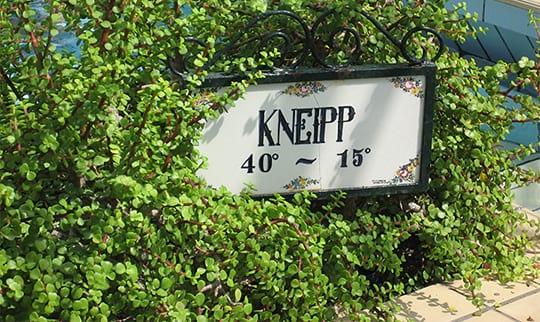 Ein Schild erinnert an Kneipps Lehre